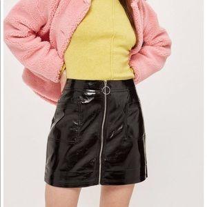 Sexy Zip Up Vinyl Mini Skirt